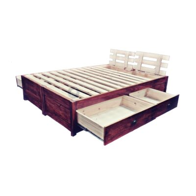 wooden storage bed base with drawers