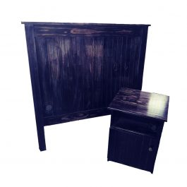"Double Wooden Headboard – Black Antique ""Chic"""