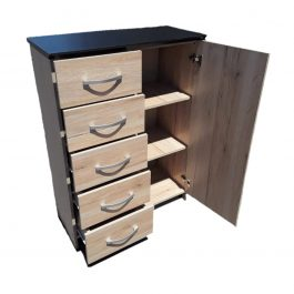 5 Drawer Chest Combo with Shelves Oak
