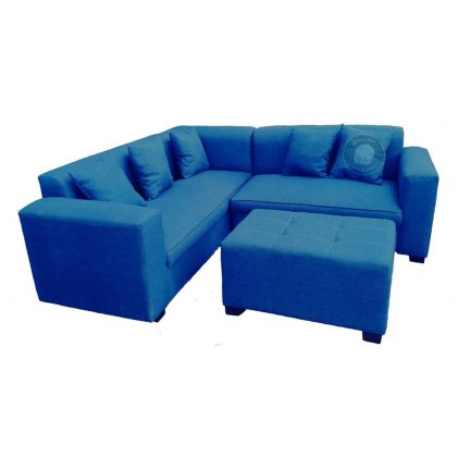 corner couch with ottoman and scatter cushions blue