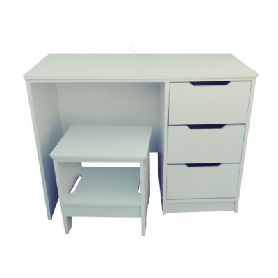 white dressing table with stool