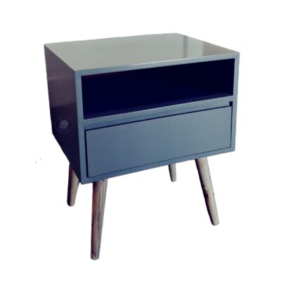 grey retro bed side table