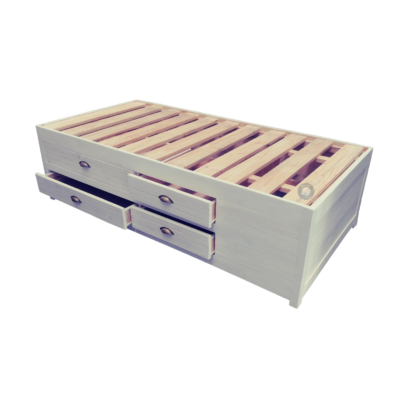 Storage base with double row drawers