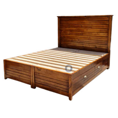 Wooden bed with drawers light oak