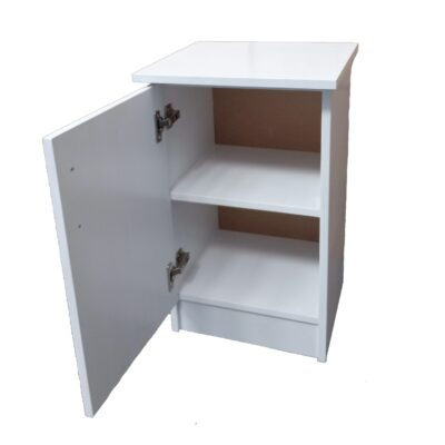 product image white bed side table open