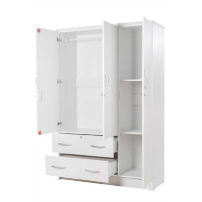 3 door cupboard white open
