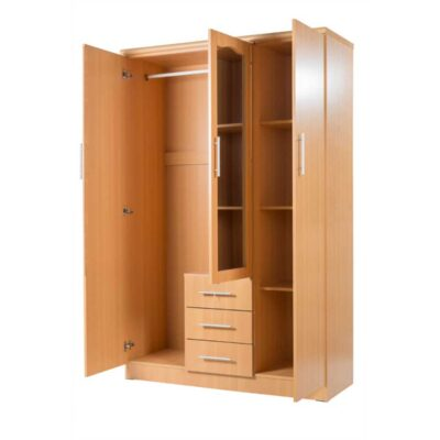 3 door cupboard with mirror open