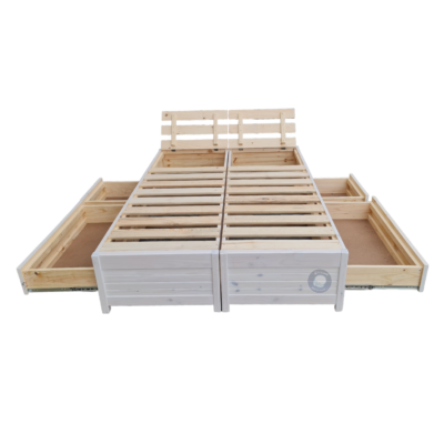 bed base with drawers open