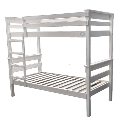 wooden double bunk bed white