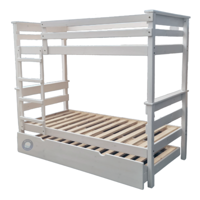 wooden bunk bed with under bed on wheels