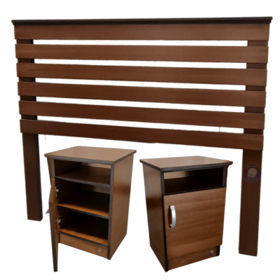 headboard and bed side tables brown